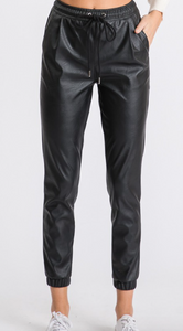 Ethan & Joy Faux Leather Vegan Joggers