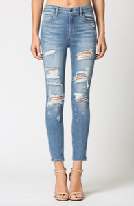 Hidden Medium Wash Heavily Grinded Skinny Jeans