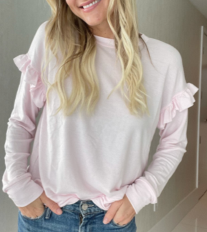 Six Fifty Ruffle Sleeve Pullover, Pink