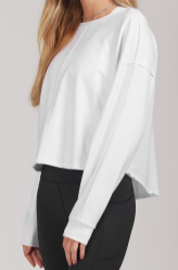 Danielle K Raw Edge Sweatshirt, White