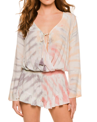 Surf Gypsy Tie Dye Romper Cover Up, Campfire