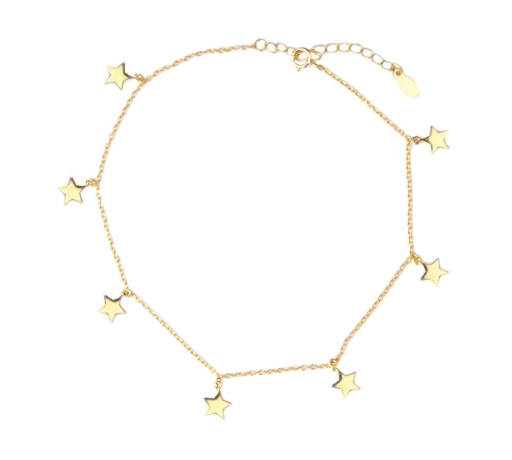 Marlyn Schiff Stars Anklet, Gold Filled
