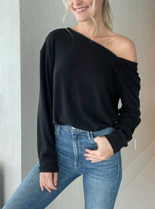 Six Fifty Diagonal Neck Top, Black