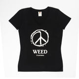 Weed Peace V-Neck Black
