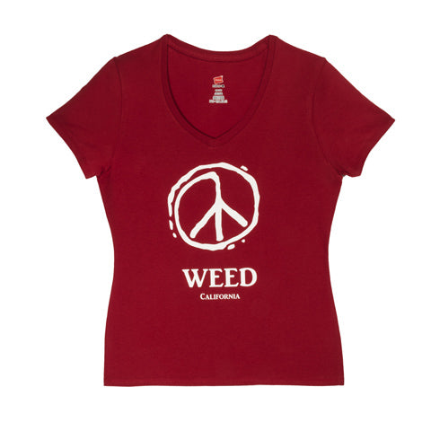 Weed Peace V-Neck Red