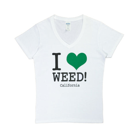 I Love Weed V-Neck White