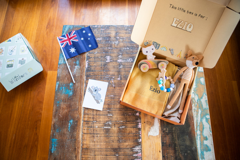 Personalised gift boxes for Babies, or Mum to be. Cutest baby hampers made in Australia. Handcrafted, Made in Australia