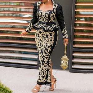 MD Bodycon Sexy Evening Robes 2020 Elegant Women Long Sleeve Dress Floral Print Maxi Dress African Ladies Clothes XXL Plus Size