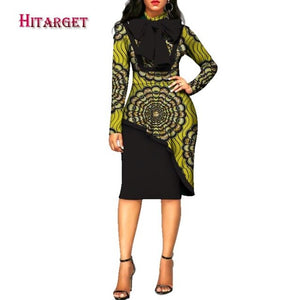 2020 africa style women dress elegant Dashiki Long Sleeve Plus Size Bazin Riche African Traditions Contton Print Dresses WY2573