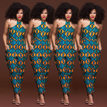 Load image into Gallery viewer, Plus size sleeveless strappy Dashiki African Print jumpsuit women romper 2020 summer halter sexy off shoulder long pant outfits