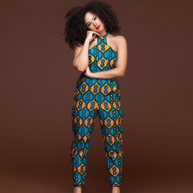 Plus size sleeveless strappy Dashiki African Print jumpsuit women romper 2020 summer halter sexy off shoulder long pant outfits