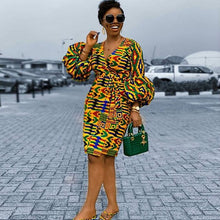 Load image into Gallery viewer, Puff Sleeve Spring Autumn Women V Neck Print Dress 2020 Elegant Female Plus Size African Office Lady Vintage Retro Midi Dresses