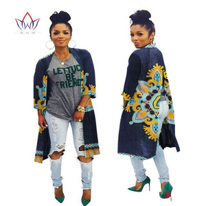 2020 African Fashion Autumn Plus Size  Women Trench Coat Traditional African Wax Print Clothing Dashiki Casual Outwear WY394