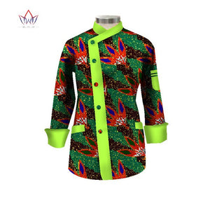 2020 Fashion African Short Coat Print Wax Dashiki Outfits For Women Bazin Rich Africa Plus Size Top African Women Clothes WY1710