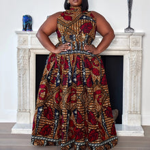 Load image into Gallery viewer, Summer Ethnic Print Long Party Dress Women African Fashion Turtleneck Elegant Evening Off Shoulder Sexy Dresses Plus Size 2020