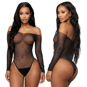 Sexy Fishnet Rhinestone Bodysuit Women Bodycon Long Sleeve Leotard Tops Hollow Out See Through Off Shoulder Sexy Lingerie