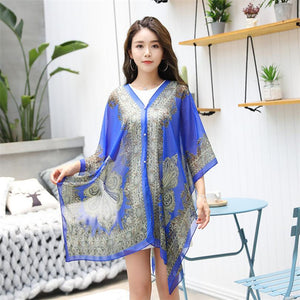 YRRETY Vintage Women Plus Size Blouses Fashion Print Chiffon Blouse Tops Summer Sunscreen Shirt Casual Loose Women Clothes 2020
