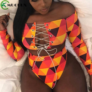 MUOLUX 2020 Thong Swimsuit African Swimwear Print Bandage Plus Size Women Tankini Long Sleeve Bikini Set High Waist Bathing Suit
