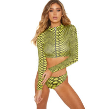 Load image into Gallery viewer, MUOLUX 2020 Thong Swimsuit African Swimwear Print Bandage Plus Size Women Tankini Long Sleeve Bikini Set High Waist Bathing Suit