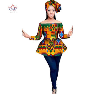 2020 ankara new african styles full sleeve african tops for women print ladies clothes plus size dashiki african clothing WY3129
