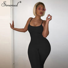 Load image into Gallery viewer, Simenual Strap Casual Bodycon Rompers Womens Jumpsuit Workout Active Wear Sleeveless 2020 Summer Solid Jumpsuits Skinny Fashion