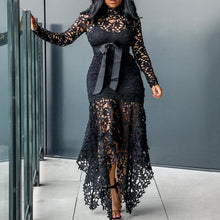 Load image into Gallery viewer, Vintage Party Sexy Black Lace Long Dress Plus Big Size Large M-XXXL 4XL Women Mesh Hollow Bodycon Blue African Maxi Dress Ladies