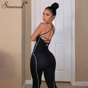 Simenual Sporty Workout Rompers Womens Jumpsuit Backless Sleeveless Lace Up Active Wear Bodycon Skinny Striped Jumpsuits Casual