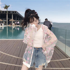 summer womens hooded blouses and tops floral chiffon transparent ladies plus size pink long sleeve 2020 new blouse shirt XL