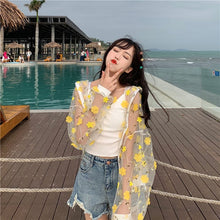 Load image into Gallery viewer, summer womens hooded blouses and tops floral chiffon transparent ladies plus size pink long sleeve 2020 new blouse shirt XL