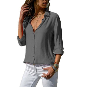 Women White Blouses Basic Selling Button Solid 2020 summer Long Sleeve Shirt Female Chiffon Women's Slim Clothing Plus Size Tops
