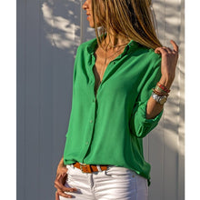 Load image into Gallery viewer, Women White Blouses Basic Selling Button Solid 2020 summer Long Sleeve Shirt Female Chiffon Women's Slim Clothing Plus Size Tops