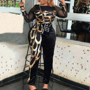 Casual Black Color Block Plus Size Women Sexy Jumpsuit Mesh Long Sleeve African Lady Office Vintage Skinny Long Jumpsuits 2020