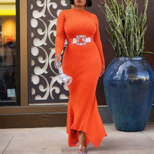 Load image into Gallery viewer, Orange Long Sleeve Bodycon Mermaid Long Dress African Women Autumn Winter Black High Neck Plus Size Irregular Dress Maxi 2020