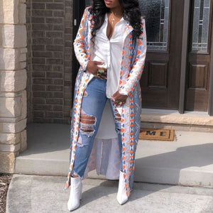 Fashion Print Trench Coat Women Long Coats Plus Size Spring 2020 Casual Oversize Outwear African Ladies Office Streetwear Trips