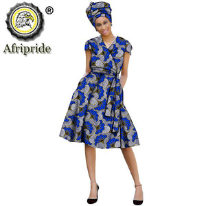 2020 African ankara dress+headscarf+Sashes print dashiki Indie Folk pure cotton plus size A-Line knee-length AFRIPEIDE S1925039