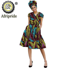 Load image into Gallery viewer, 2020 African ankara dress+headscarf+Sashes print dashiki Indie Folk pure cotton plus size A-Line knee-length AFRIPEIDE S1925039