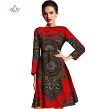 Load image into Gallery viewer, 2020 New Fashion Autumn Africa Women Dress Bazin Riche  African Wax Print Dresses Plus Size Elegant Lady Office Dress WY005