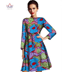 2020 New Fashion Autumn Africa Women Dress Bazin Riche  African Wax Print Dresses Plus Size Elegant Lady Office Dress WY005