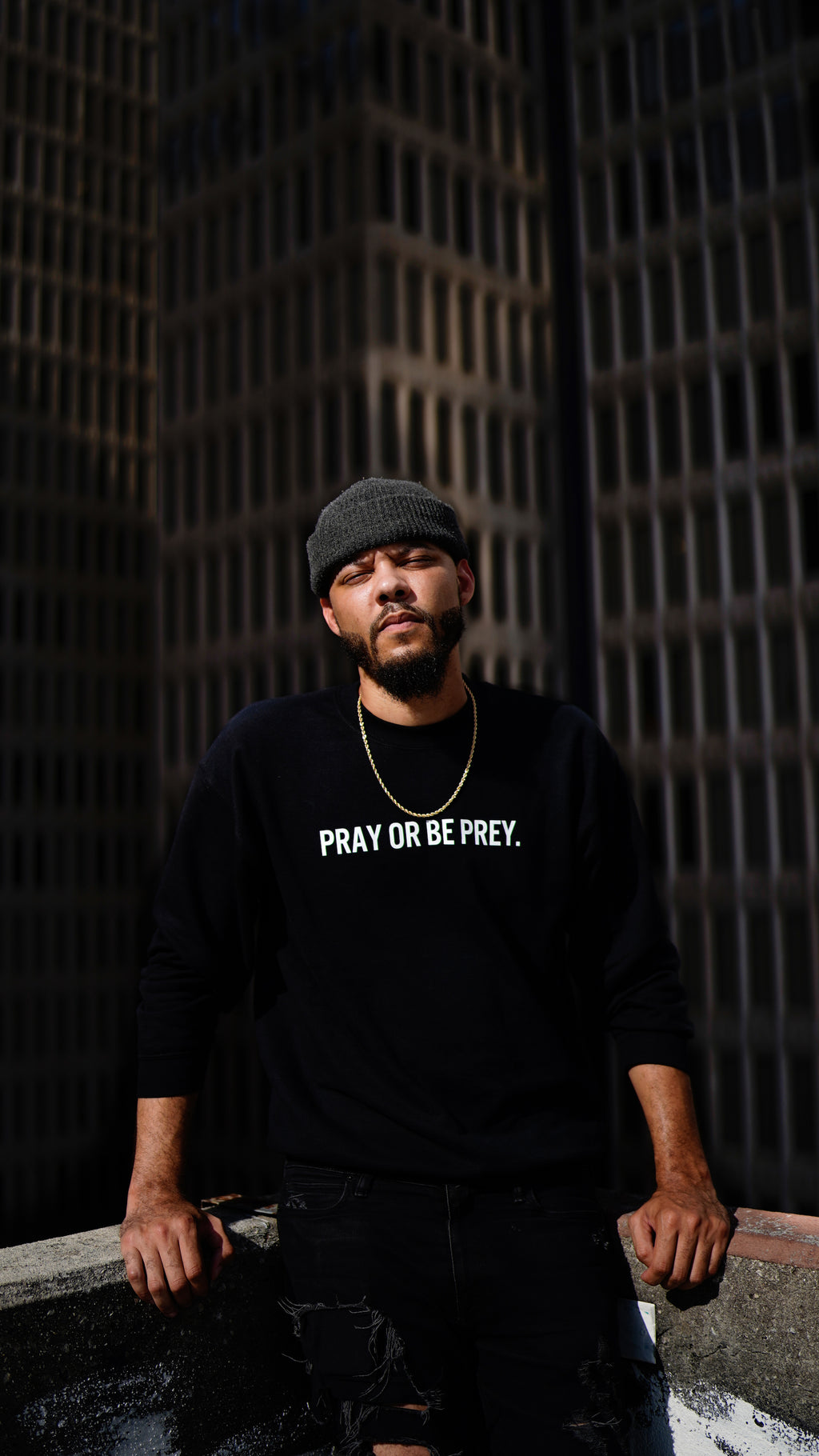 Pray Or Be Prey Crewneck - Black