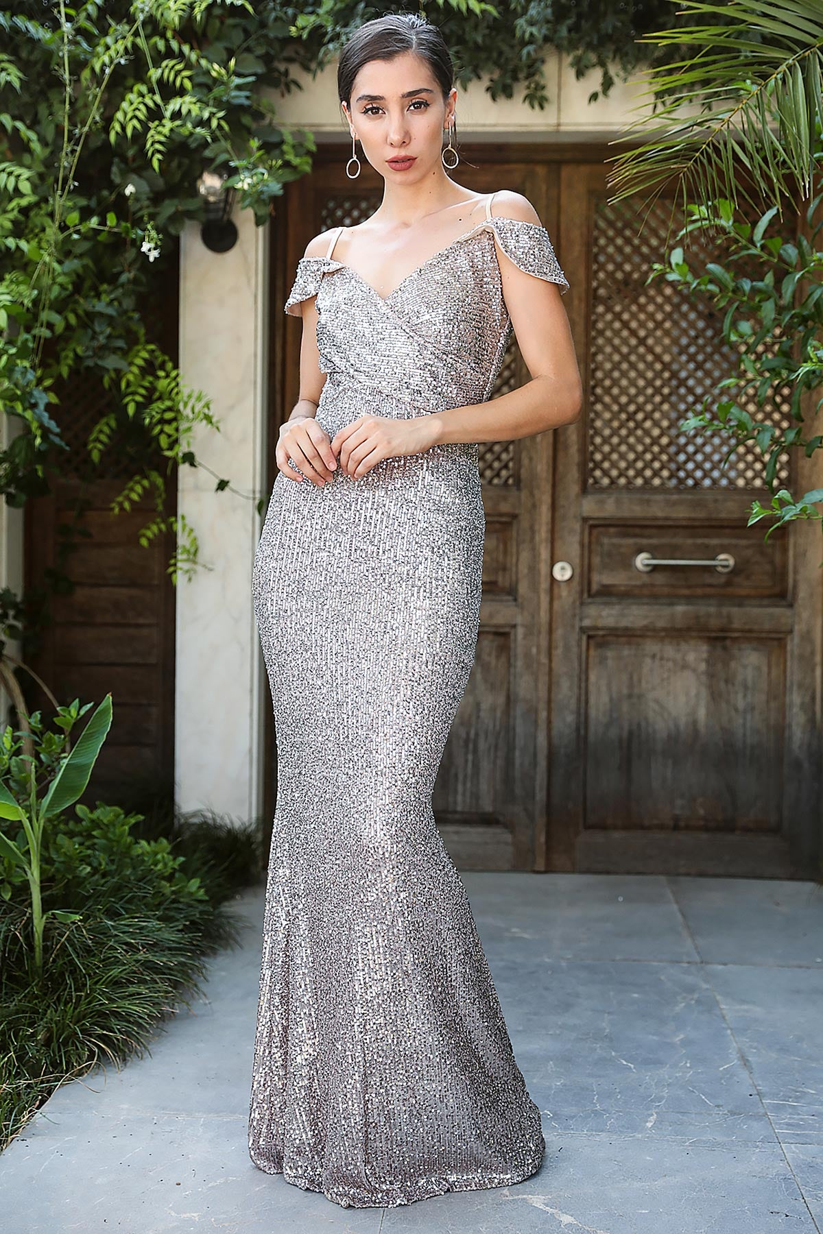 Fish Model Sequin Mink Evening Dress