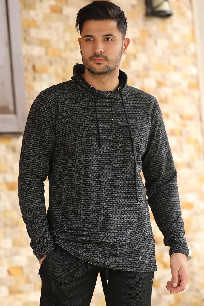 Hooded Patterned Sweatshirt