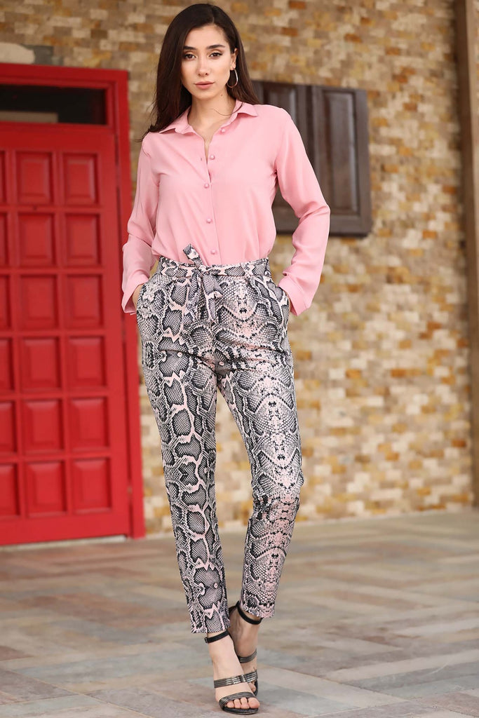 Banded Waist Snake Patterned Pants