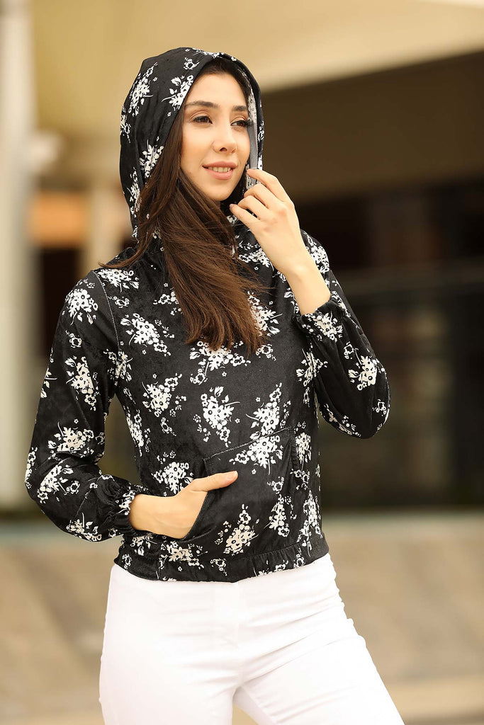 Hooded Patterned Velvet Sweatshirt