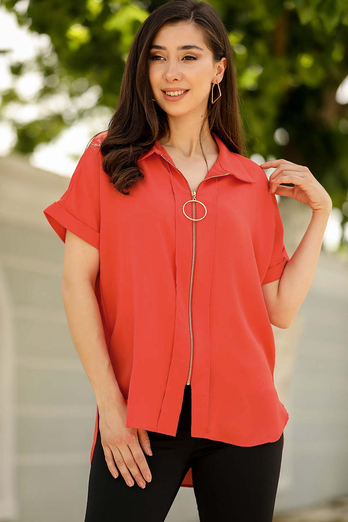 Zipper Vermilion Shirt