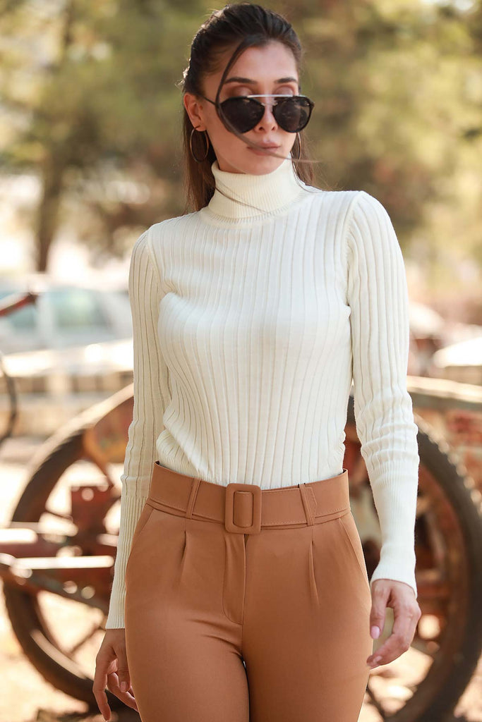 Turtleneck Rib Sweater