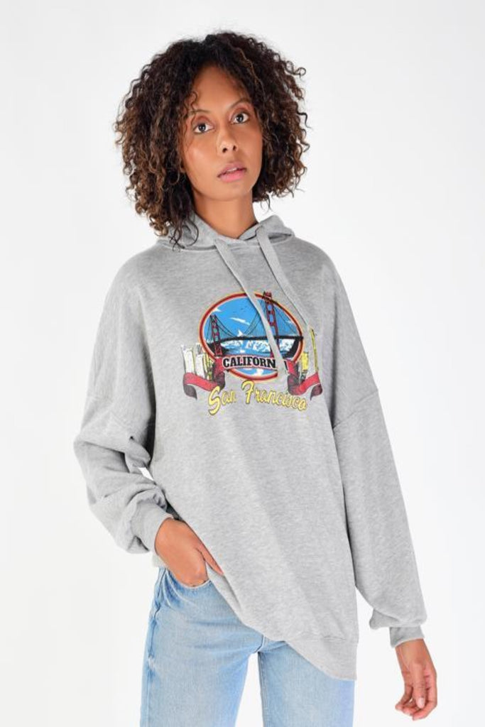 Hooded Printed Melange Sweatshirt