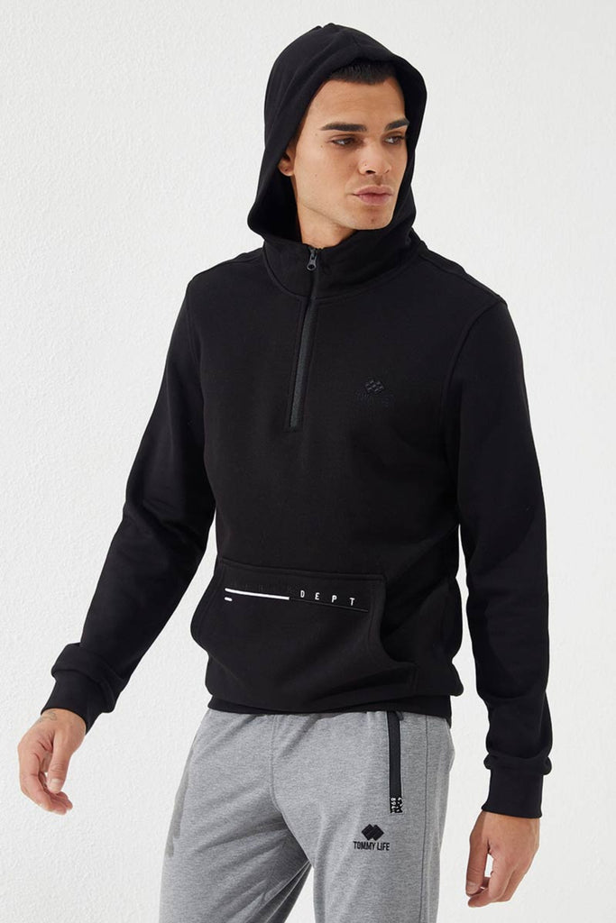 Zip Collar Pocket Sweatshirt