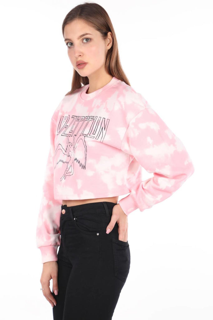 Printed Crop Sweatshirt