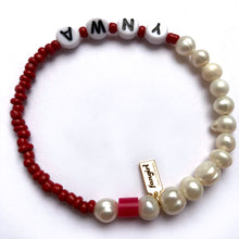 Load image into Gallery viewer, 'YOUR TEAM' PEARL & GLASS BEAD BRACELET
