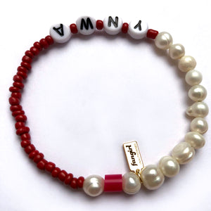 'YOUR TEAM' PEARL & GLASS BEAD BRACELET